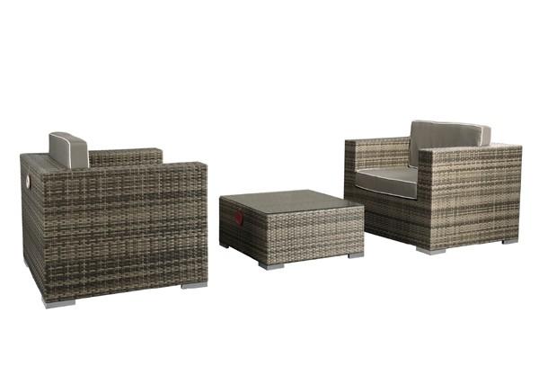 Rattan XXL Loungemöbel Set Espace 2 - 3-teilig - Farbe: grau braun ...