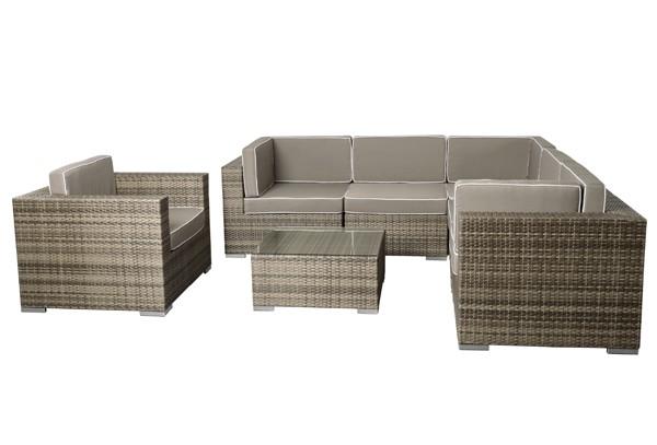 Rattan Xxl Loungemöbel Set Espace 6 7 Teilig Farbe Grau Braun