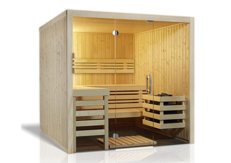 Infraworld sauna auf maß opal fichte elementbauweise von länge 117