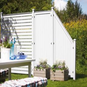 TraumGarten Sichtschutzzaun  Kunststoff Longlife Riva Anschluss weiß - 90 x 180 auf 90 cm