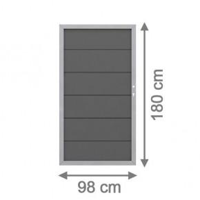 TraumGarten Sichtschutzzaun Design WPC Alu Tor anthrazit DIN rechts - 98 x 180cm