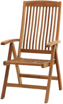 Ploss Gartenmöbel Klappsessel Arlington Hochlehner aus Premium-Teak 62 x 61 x 113 cm