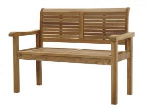 Ploss Gartenmöbel Landhausbank Gartenbank York mit Armlehnen aus Premium-Teak  120 x 59 x 91 cm  2-Sitzer