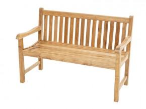 Ploss Gartenmöbel Landhausbank Gartenbank Coventry mit Armlehnen aus Premium-Teak  130 x 64 x 90 cm  2-Sitzer