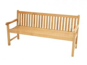 Ploss Gartenmöbel Landhausbank Gartenbank Coventry mit Armlehnen aus Premium-Teak  180 x 64 x 90 cm  4-Sitzer