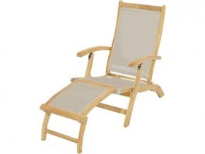 Ploss Gartenmöbel Deckchair Gartenliege Richmond mit abnehmbares Fussteil und Textilbespannung  137 x 58 x 92 cm