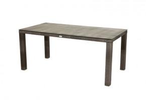 Ploss Gartenmöbel Dining-Tisch Polyrattan Rocking mit Glasplatte in Steinoptik  170 x 110 x 75 cm  Farbe: graun-braun-meliert