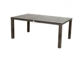 Ploss Gartenmöbel Dining-Tisch Polyrattan Rocking mit Glasplatte in Steinoptik  180 x 110 x 75 cm  Farbe: graun-braun-meliert