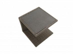 Ploss Gartenmöbel Beistelltisch Polyrattangeflecht Rocking mit Glasplatte in Steinoptik  50 x 45 x 50 cm  Farbe: grau-braun-meliert