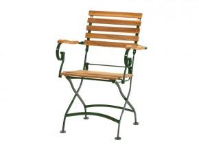 Ploss Gartenmöbel 2er Set Klappstuhl Verona mit Armlehnen aus Teakholz Eisengestell  61 x 55 x 88 cm