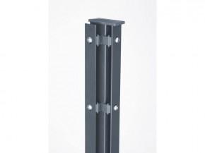 Zaunpfosten Doppelstabgitterzaun Eckpfosten Typ A RAL 7016 Anthrazitgrau  - Länge: 1100 mm