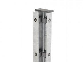 Zaunpfosten Doppelstabgitterzaun Eckpfosten Typ A Silbergrau  - Länge: 2400 mm