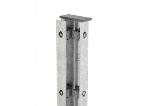 Zaunpfosten Doppelstabgitterzaun Eckpfosten Typ A Silbergrau  - Länge: 1300 mm