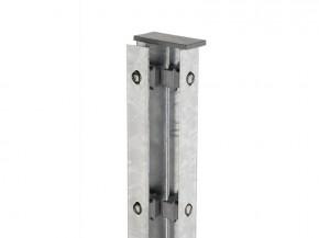Zaunpfosten Doppelstabgitterzaun Eckpfosten Typ A Silbergrau  - Länge: 2200 mm
