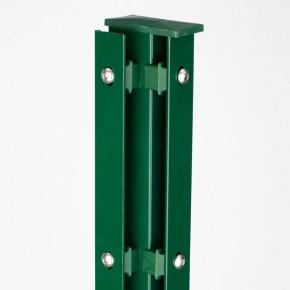 Zaunpfosten Doppelstabgitterzaun Eckpfosten Typ A RAL 6005 moosgrün  - Länge: 2400 mm