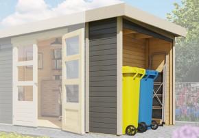 Karibu Holz Mülltonnenschleppdach für eine Haustiefe von 2,17m Farbe: terragrau
