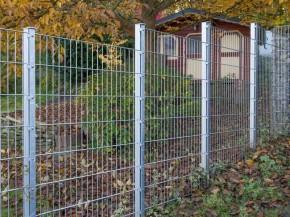 Doppelstabgitterzaun Metallzaun 6/5/6 MORITZ silbergrau verzinkt - Höhe: 1830 mm
