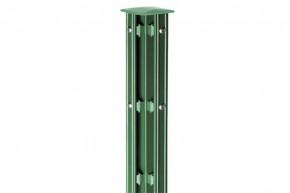 Zaunpfosten Doppelstabgitterzaun Eckpfosten Typ P-fix RAL 6005 moosgrün  - Länge: 2600 mm