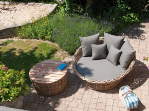 "SonnenPartner Lounge-Bett ""Sands"" Light Oaks incl. Kissen"