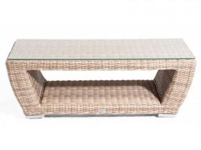 """SonnenPartner Lounge-Tisch """"Royal""""  Aluminiumgestell Kunststoffgeflecht antik/weiss"""