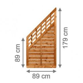 TraumGarten Sichtschutzzaun GALANT Anschluss mit Gitter braun lasiert - 89 x 179 auf 89 cm