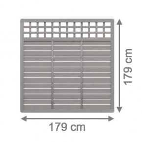 TraumGarten Sichtschutzzaun GALANT Rechteck mit Gitter grau lasiert - 179 x 179 cm
