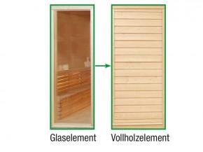 Wolff Finnhaus Sauna Paradiso: Tausch Glaswand gegen Vollholzwand