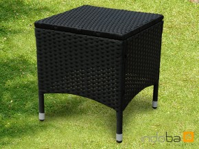 Gartenmöbel Gartenhocker Valencia Polyrattan - schwarz