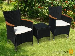 Gartenmöbel Gartenstuhl und Hocker Set Valencia 3-teilig - Polyrattan - schwarz inkl. Auflage