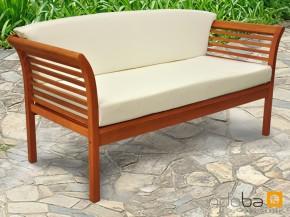Gartenmöbel Gartensofa 2,5 Sitzer Samoa - aus Eukalyptus inkl. Auflage