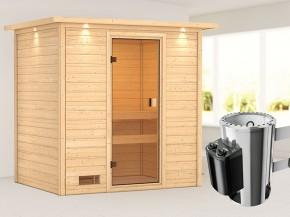 Woodfeeling 38 mm Massivholzsauna Selena - für niedrige Räume - mit Dachkranz - 3,6kW Plug&Play Saunaofen mit integr. Steuerung