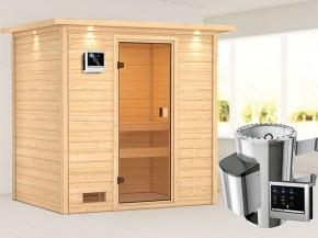 Woodfeeling 38 mm Massivholzsauna Selena - für niedrige Räume - mit Dachkranz - 3,6kW Plug&Play Saunaofen mit externer Steuerung Easy