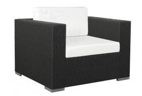 Rattan Loungeelement Espace Luxus Sessel inkl. Kissen - Farbe: Schwarz