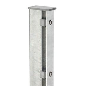 Zaunpfosten Doppelstabgitterzaun Typ A  Silbergrau verzinkt - Länge: 1300 mm
