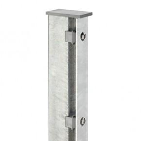 Zaunpfosten Doppelstabgitterzaun Typ A  Silbergrau verzinkt - Länge: 2200 mm