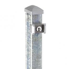 Zaunpfosten Doppelstabgitterzaun Typ PM  silbergrau verzinkt - Länge: 2400 mm