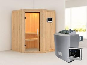 Karibu 68mm Systembausauna Larin - Eckeinstieg - Ganzglastür klar - ohne Dachkranz - 4,5kW Saunaofen mit externer Steuerung Easy