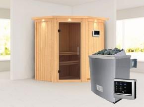 Karibu 68mm Systembausauna Taurin - Eckeinstieg - Ganzglastür graphit - mit Dachkranz - 4,5kW Saunaofen mit externer Steuerung Easy