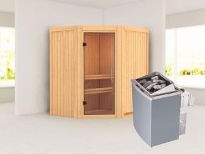 Karibu 68mm Systembausauna Taurin - Eckeinstieg - Ganzglastür klar - ohne Dachkranz - 4,5kW Saunaofen mit integr. Steuerung