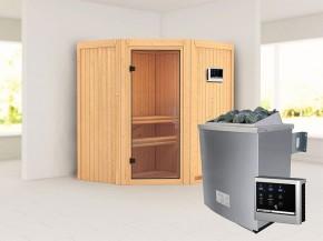 Karibu 68mm Systembausauna Taurin - Eckeinstieg - Ganzglastür klar - ohne Dachkranz - 4,5kW Saunaofen mit externer Steuerung Easy
