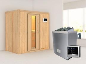Karibu 68mm Systembausauna Variado - Fronteinstieg - Energiespartür - ohne Dachkranz - 4,5kW Saunaofen mit externer Steuerung Easy