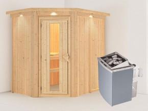 Karibu 68mm Systembausauna Carin - Eckeinstieg - Energiespartür - mit Dachkranz - 4,5kW Saunaofen mit integr. Steuerung