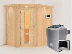 Karibu 68mm Systembausauna Carin - Eckeinstieg - Energiespartür - mit Dachkranz - 4,5kW Saunaofen mit externer Steuerung Easy