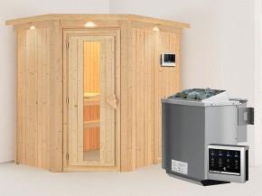 Karibu 68mm Systembausauna Carin - Eckeinstieg - Energiespartür - mit Dachkranz - 4,5kW Bio-Kombiofen mit externer Steuerung Easy bio