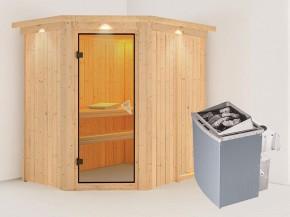 Karibu 68mm Systembausauna Carin - Eckeinstieg - Ganzglastür bronziert - mit Dachkranz - 4,5kW Saunaofen mit integr. Steuerung