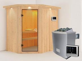 Karibu 68mm Systembausauna Carin - Eckeinstieg - Ganzglastür bronziert - mit Dachkranz - 4,5kW Saunaofen mit externer Steuerung Easy