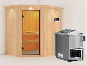 Karibu 68mm Systembausauna Carin - Eckeinstieg - Ganzglastür bronziert - mit Dachkranz - 4,5kW Bio-Kombiofen mit externer Steuerung Easy bio