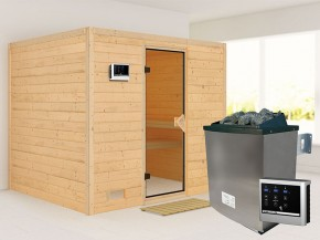 Karibu 40mm Comfort Massivholzsauna Sonara - Fronteinstieg - Ganzglastür bronziert - ohne Dachkranz - 9kW Saunaofen mit externer Steuerung Easy