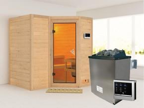 Karibu 40mm Comfort Massivholzsauna Sahib 1 - Eckeinstieg - Ganzglastür bronziert - ohne Dachkranz - 9kW Saunaofen mit externer Steuerung Easy
