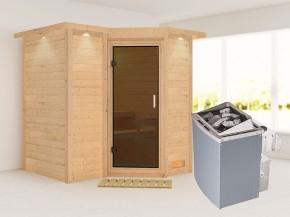 Karibu 40mm Comfort Massivholzsauna Sahib 1 - Eckeinstieg - Ganzglastür graphit - mit Dachkranz - 9kW Saunaofen mit integr. Steuerung